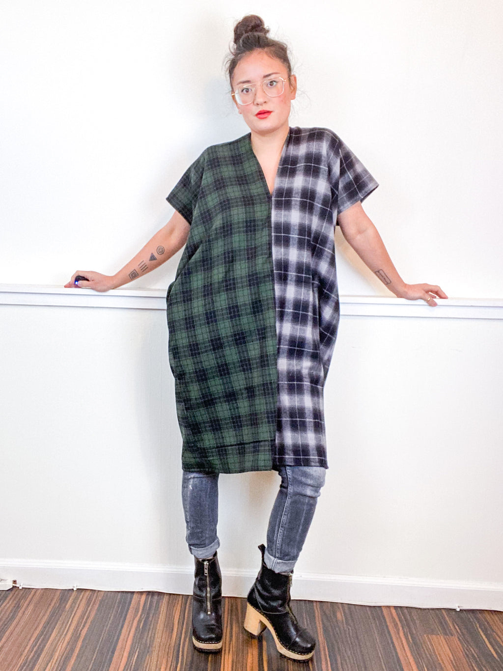 Plaid Smock Dress Green Grey
