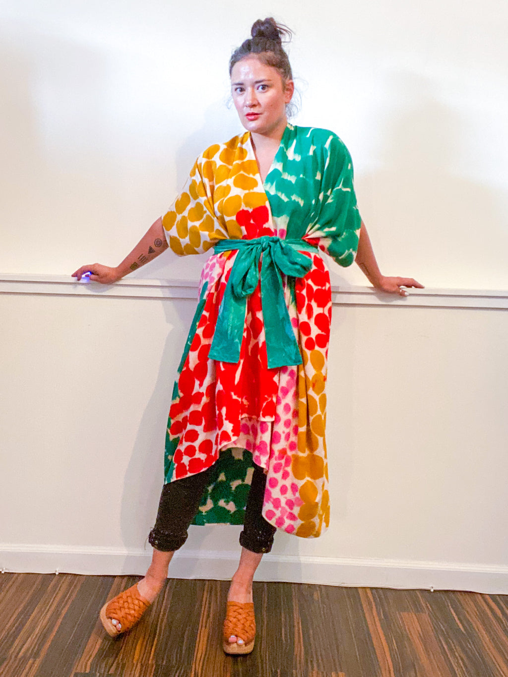 Limited Edition Hand-Dyed High Low Kimono Emerald Scarlet Pink Marigold
