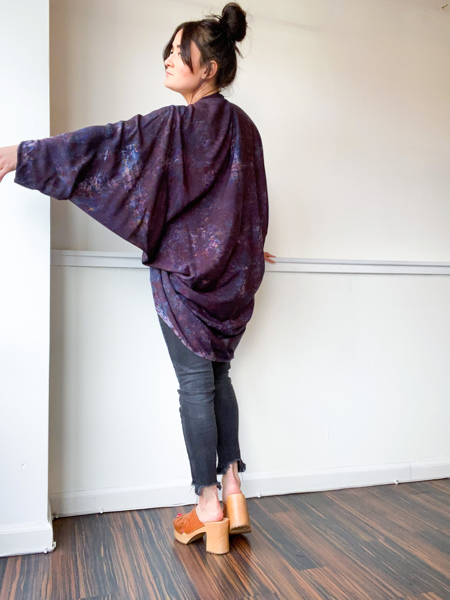 Hand-Dyed Waterfall Kimono Deconstructed Black