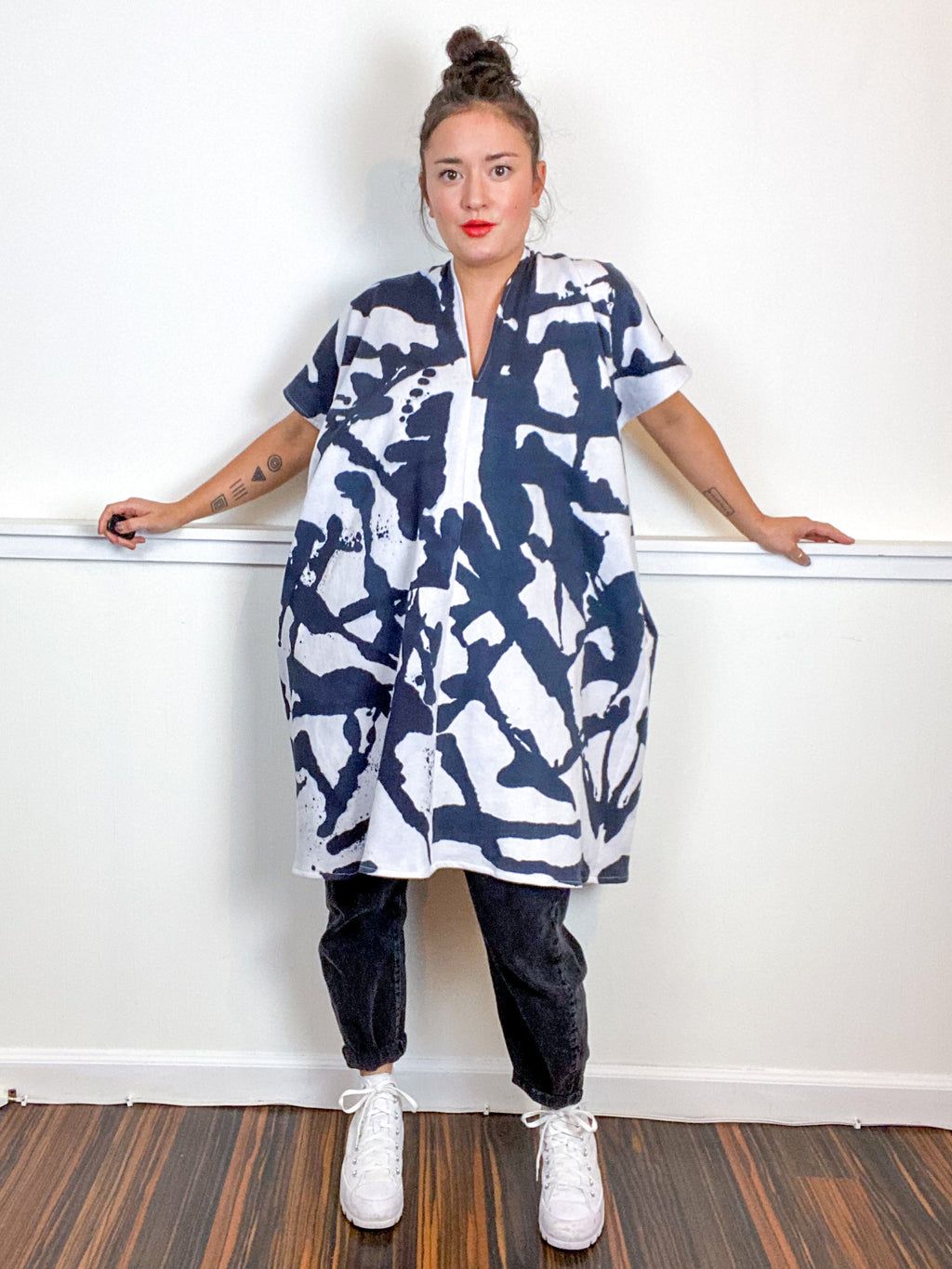 Hand-Dyed Sweatshirt Smock Dress Inkblot