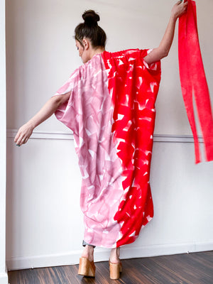 Limited Edition Hand-Dyed High Low Kimono Scarlet Pink