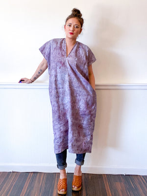 Hand-Dyed Linen Smock Dress Deconstructed Grey
