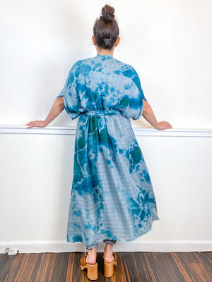 Hand-Dyed High Low Kimono Bamboo Kingfisher