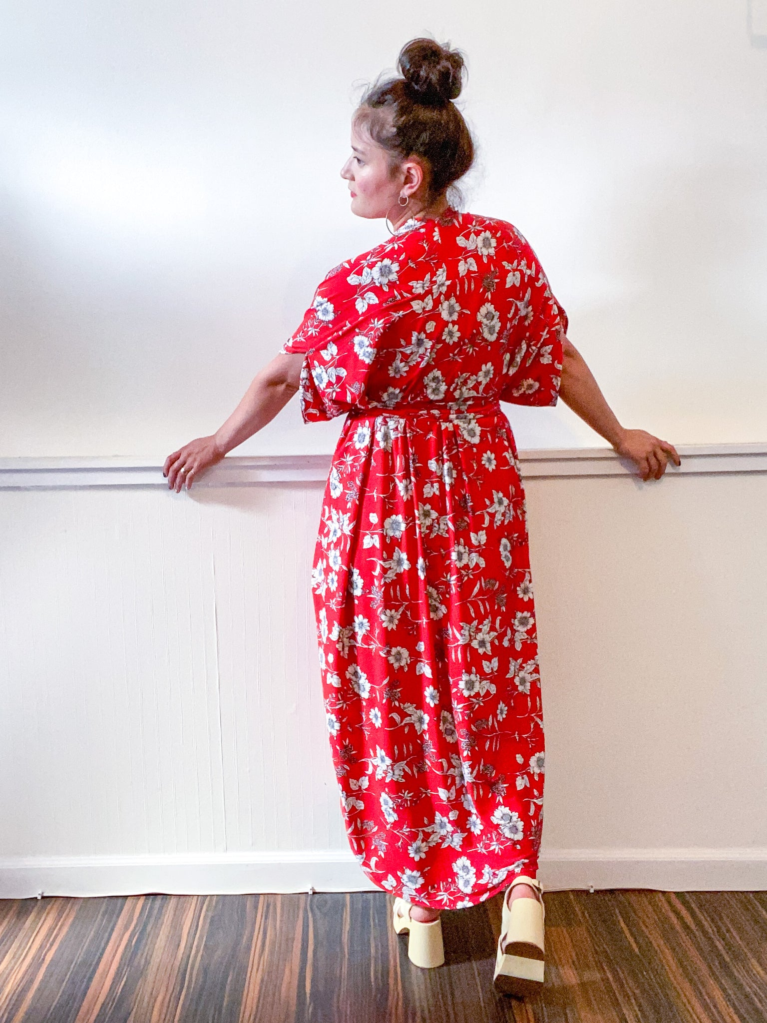 Print High Low Kimono Red Floral Slinky Knit