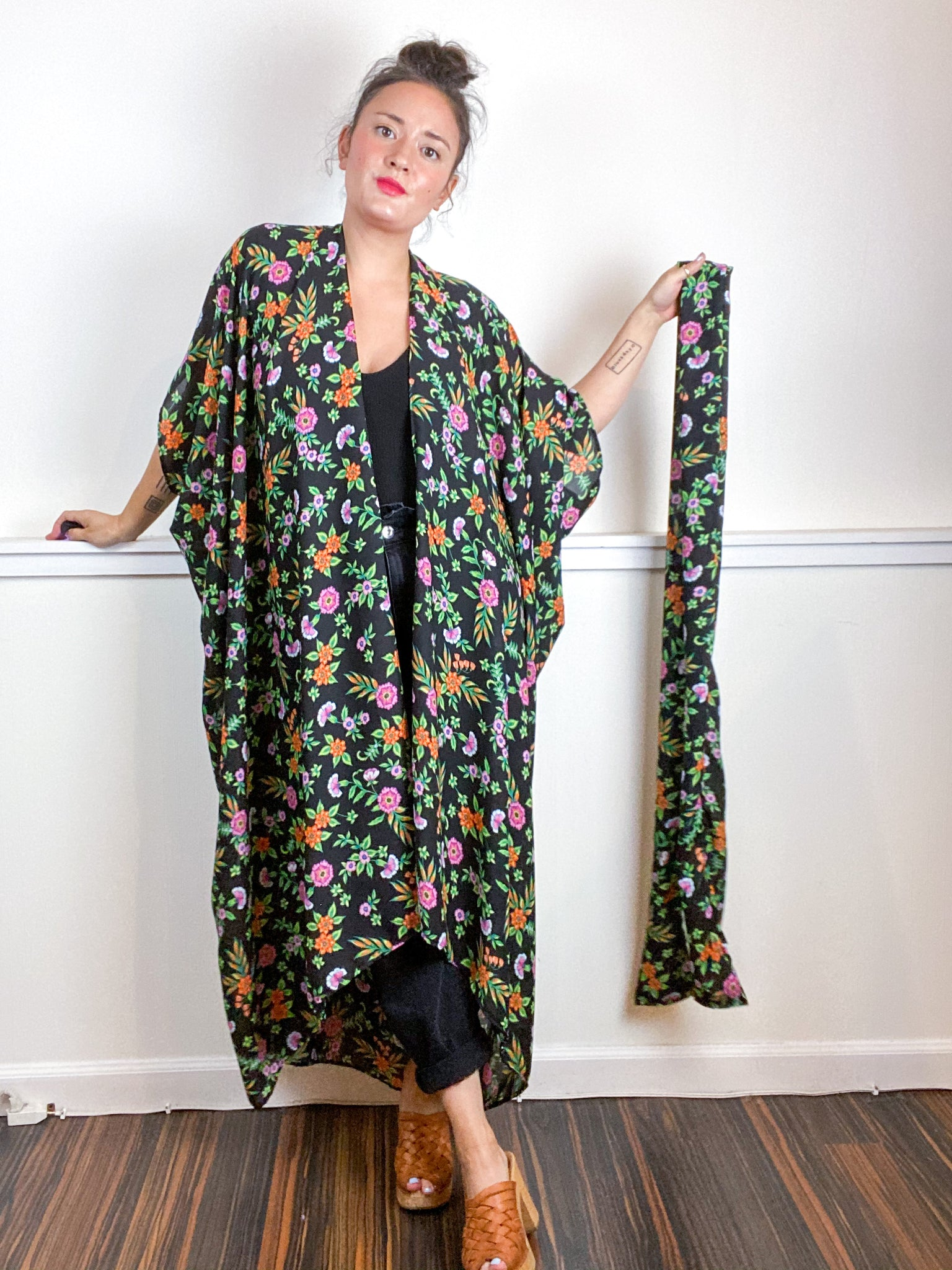 Print High Low Kimono Black Green Floral Georgette