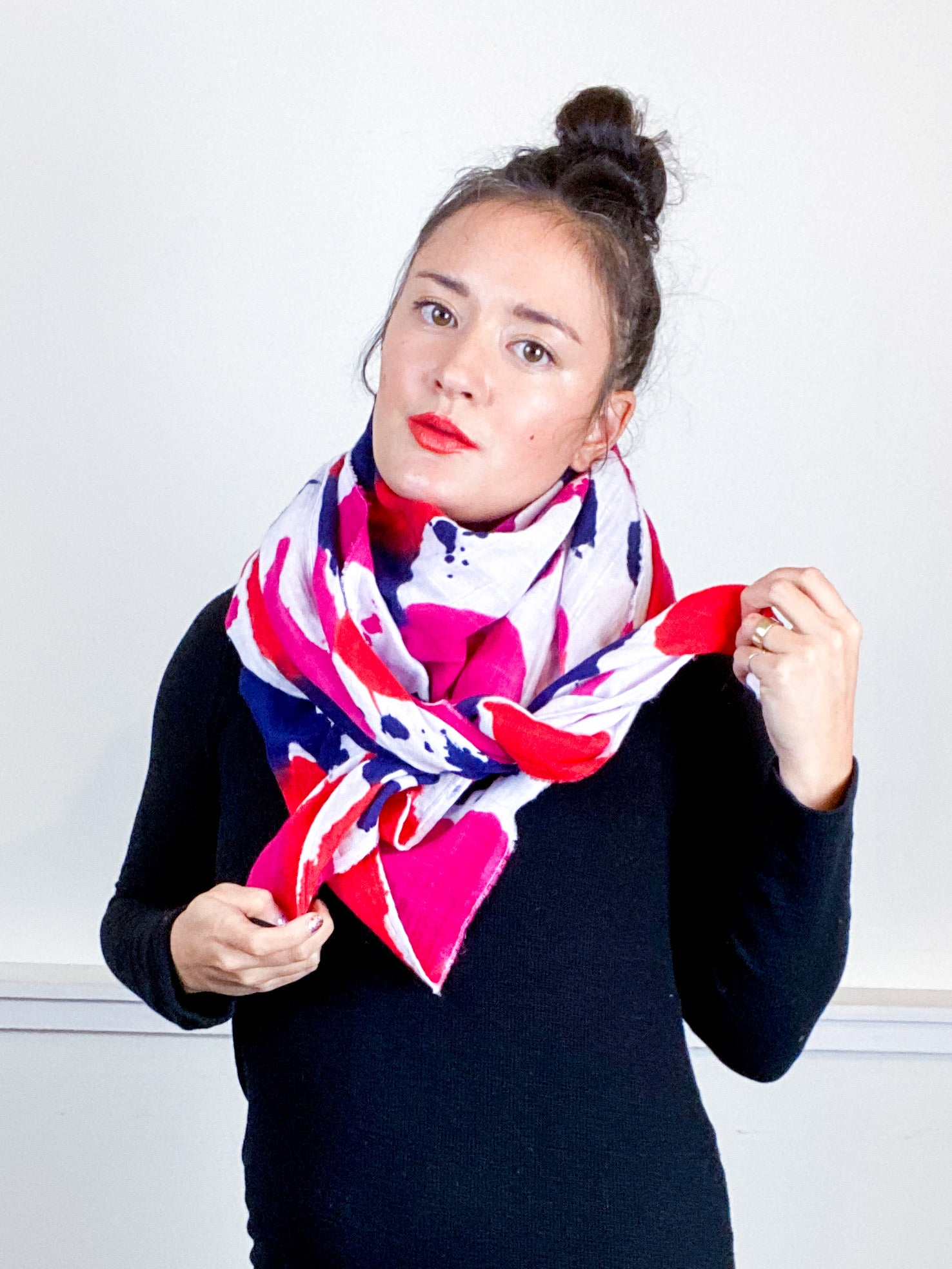 Hand-Dyed Large Square Scarf Fuchsia Scarlet Navy