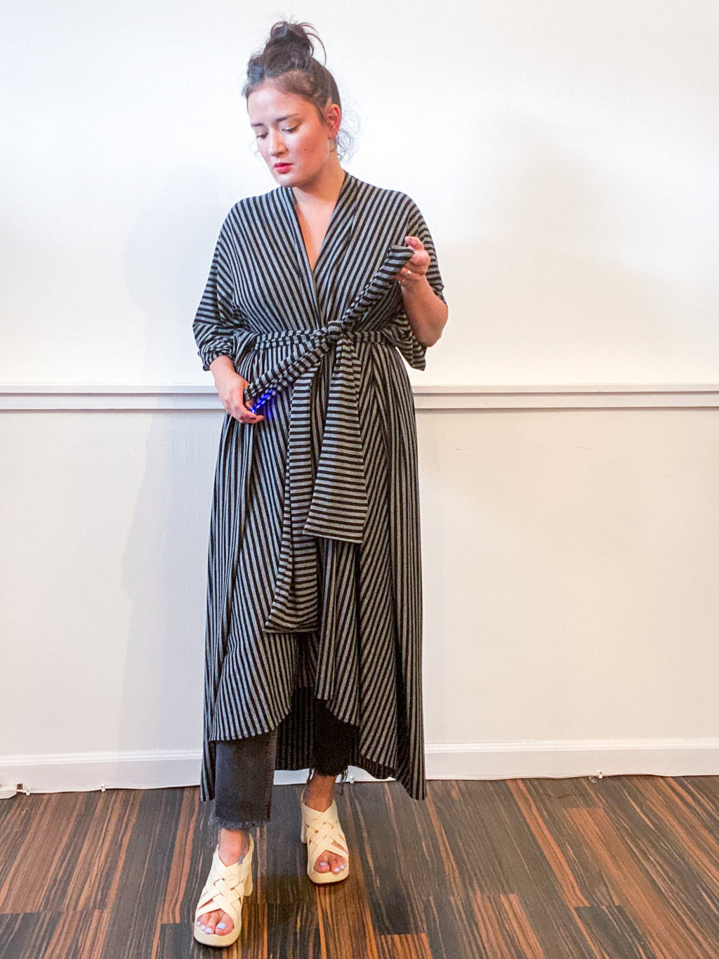 Print High Low Kimono Black Grey Pinstripe Knit