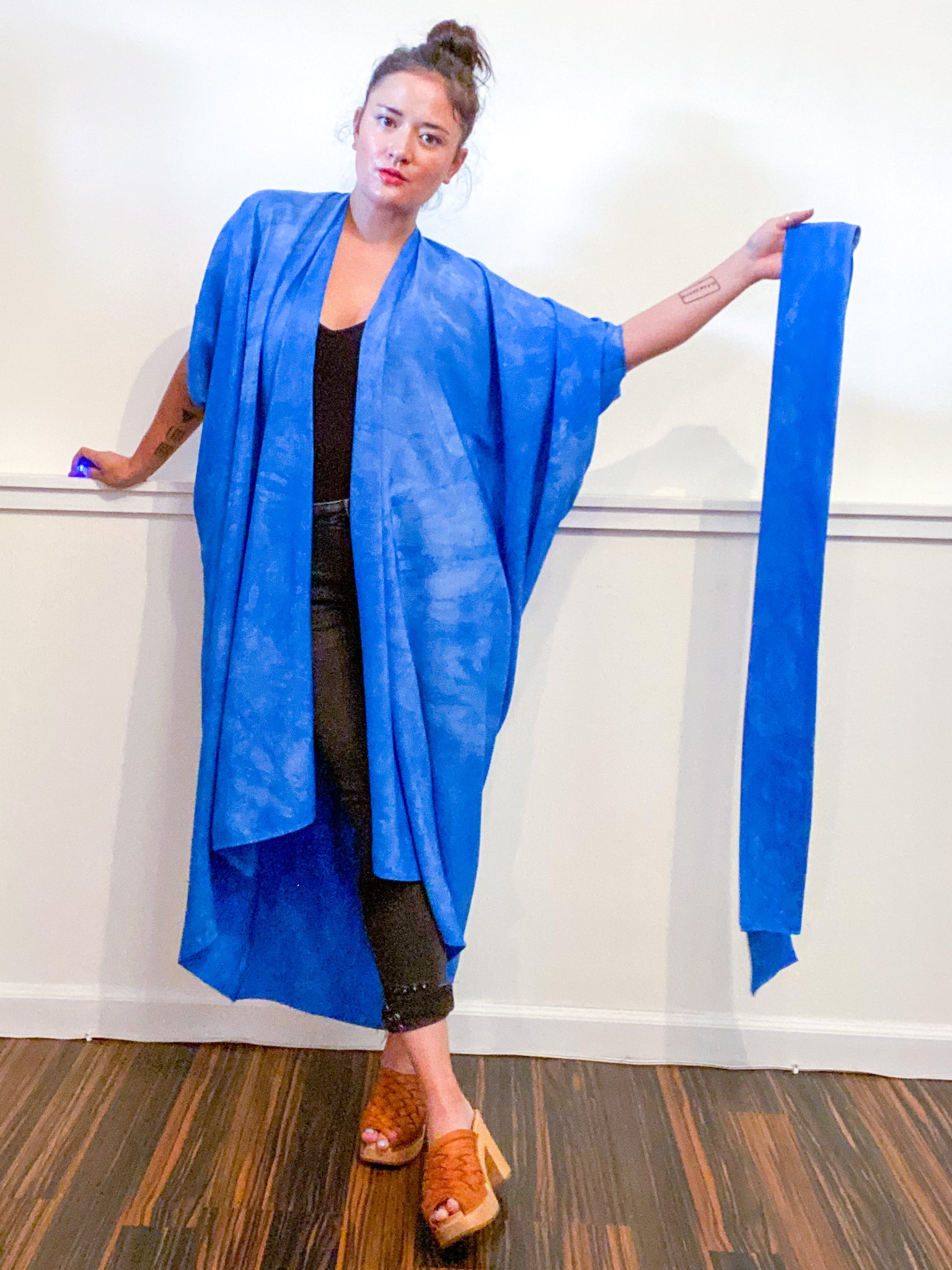 Hand-Dyed High Low Kimono Almost Solid Blue