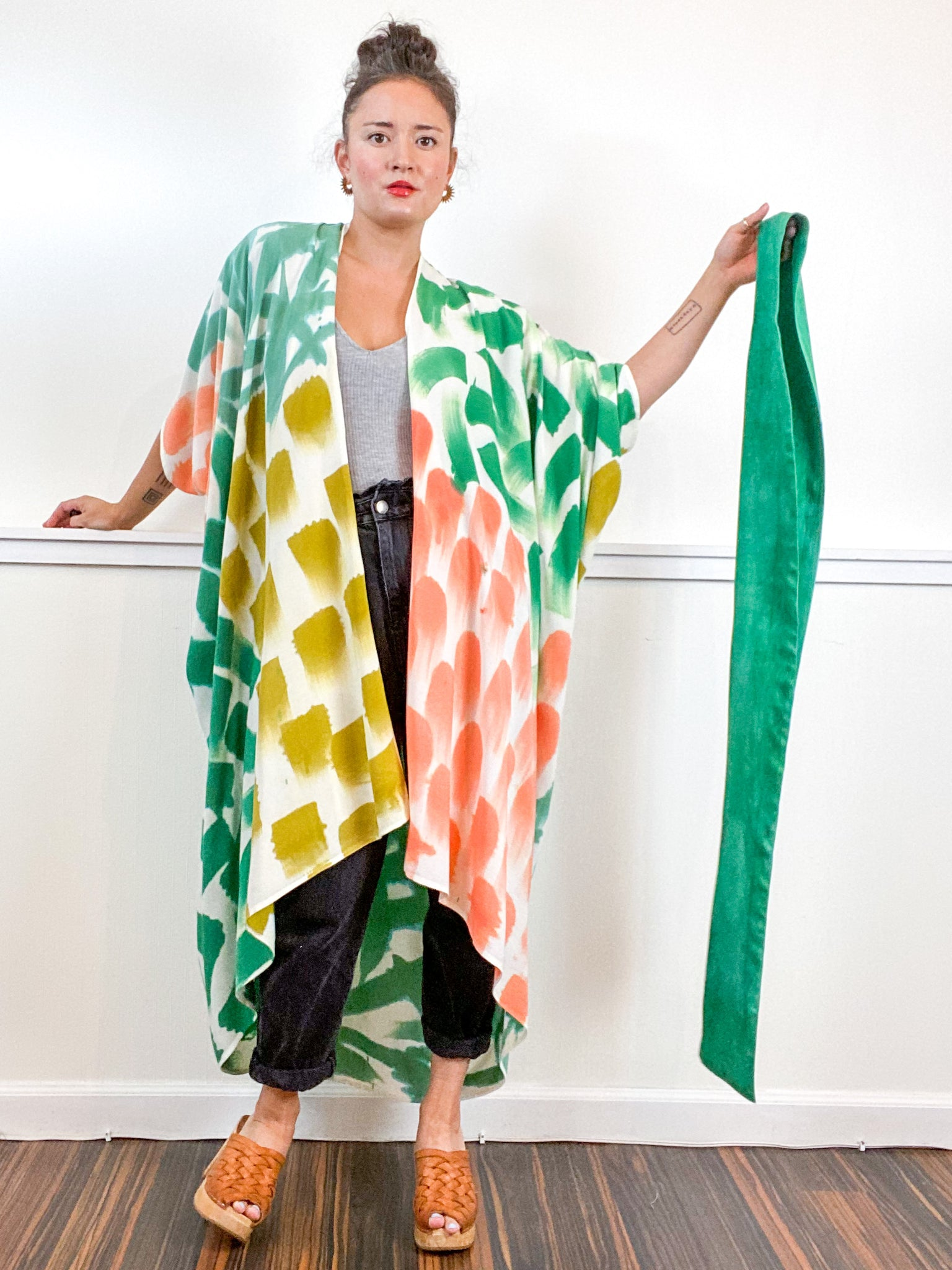 OOAK Hand-Dyed High Low Kimono Emerald Flamingo Amber Sea Brushstrokes
