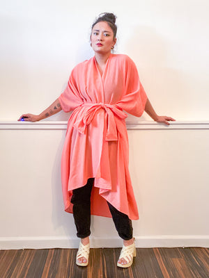 Solid High Low Kimono Peach Cotton Gauze