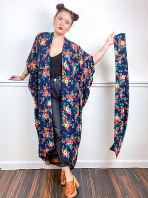 Print High Low Kimono Navy Orange Pink Rose Bubble Crepe