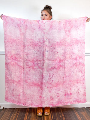 Hand-Dyed Large Square Scarf Bubblegum Speckle