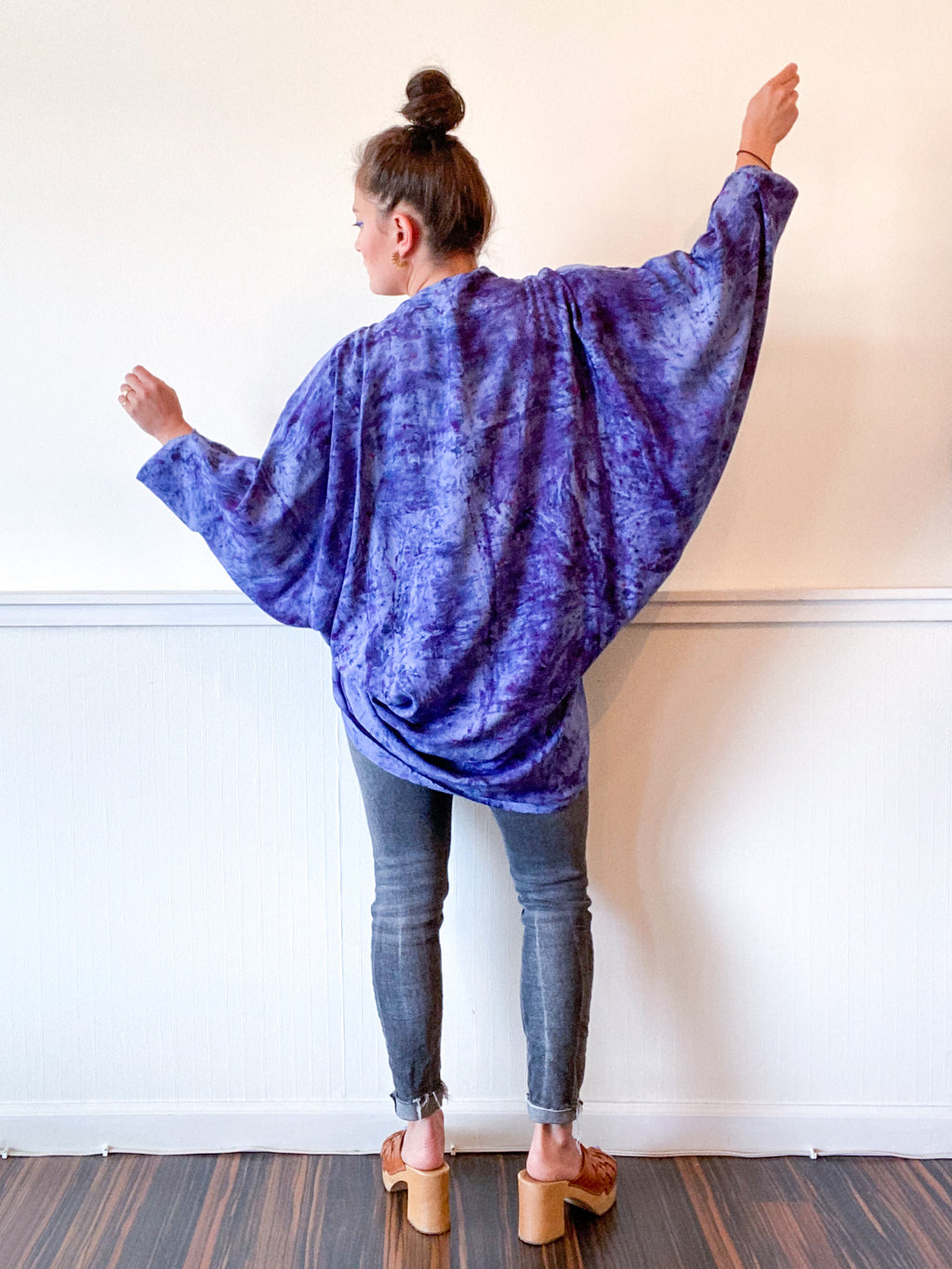 Hand-Dyed Waterfall Kimono Deconstructed Blue