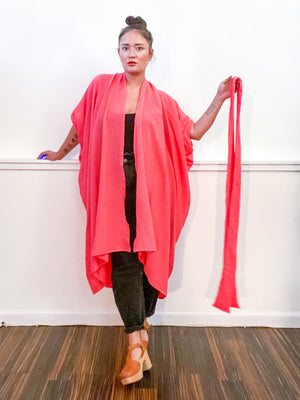 Solid High Low Kimono Coral Cotton Gauze