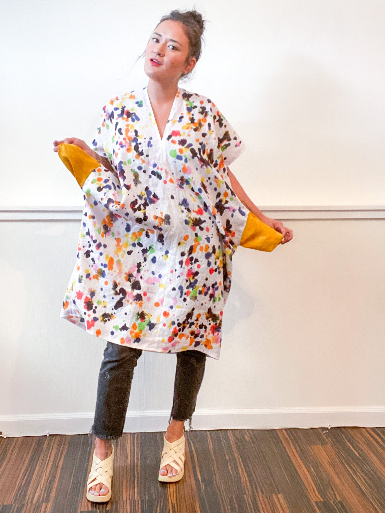 Hand-Dyed Linen Smock Dress Multicolor Drops