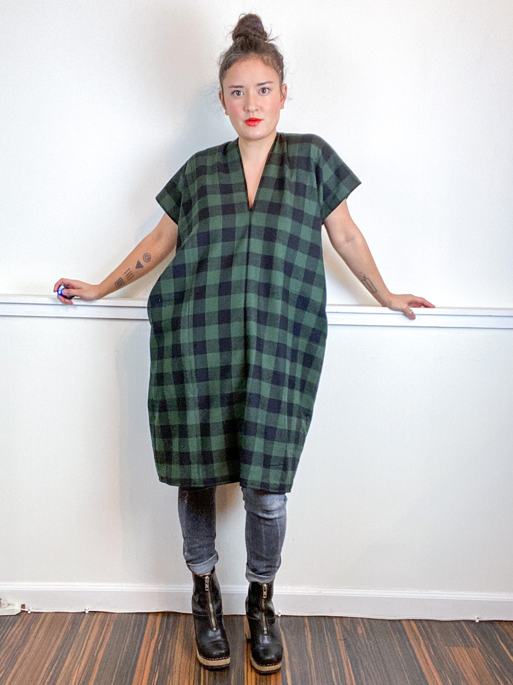 Plaid Smock Dress Forest Buffalo