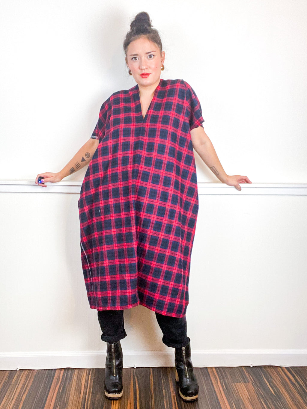 Plaid Smock Dress Red Navy