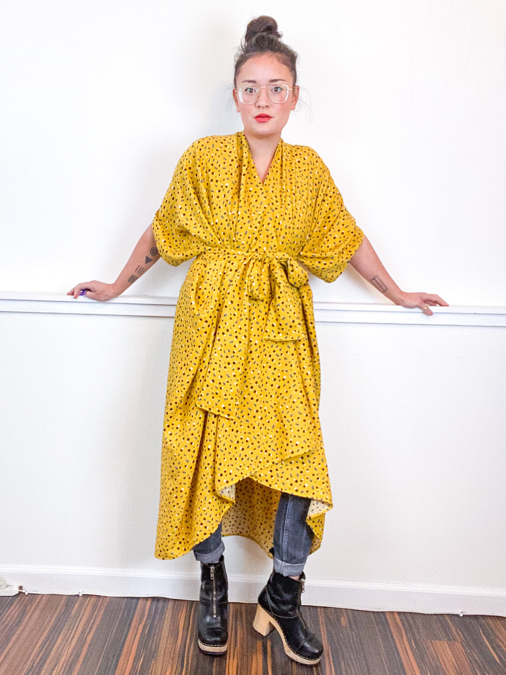 Print High Low Kimono Mustard Hexagon Rayon Challis