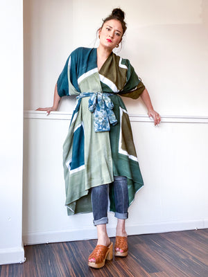 Limited Edition Hand-Dyed High Low Kimono Shape Study Green