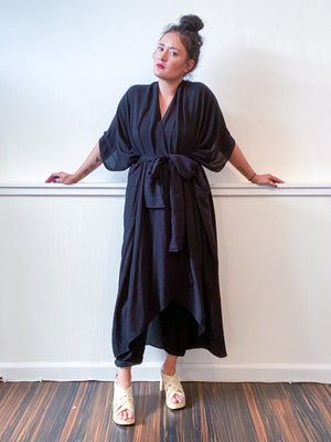 Solid High Low Kimono Black Rayon Dobby