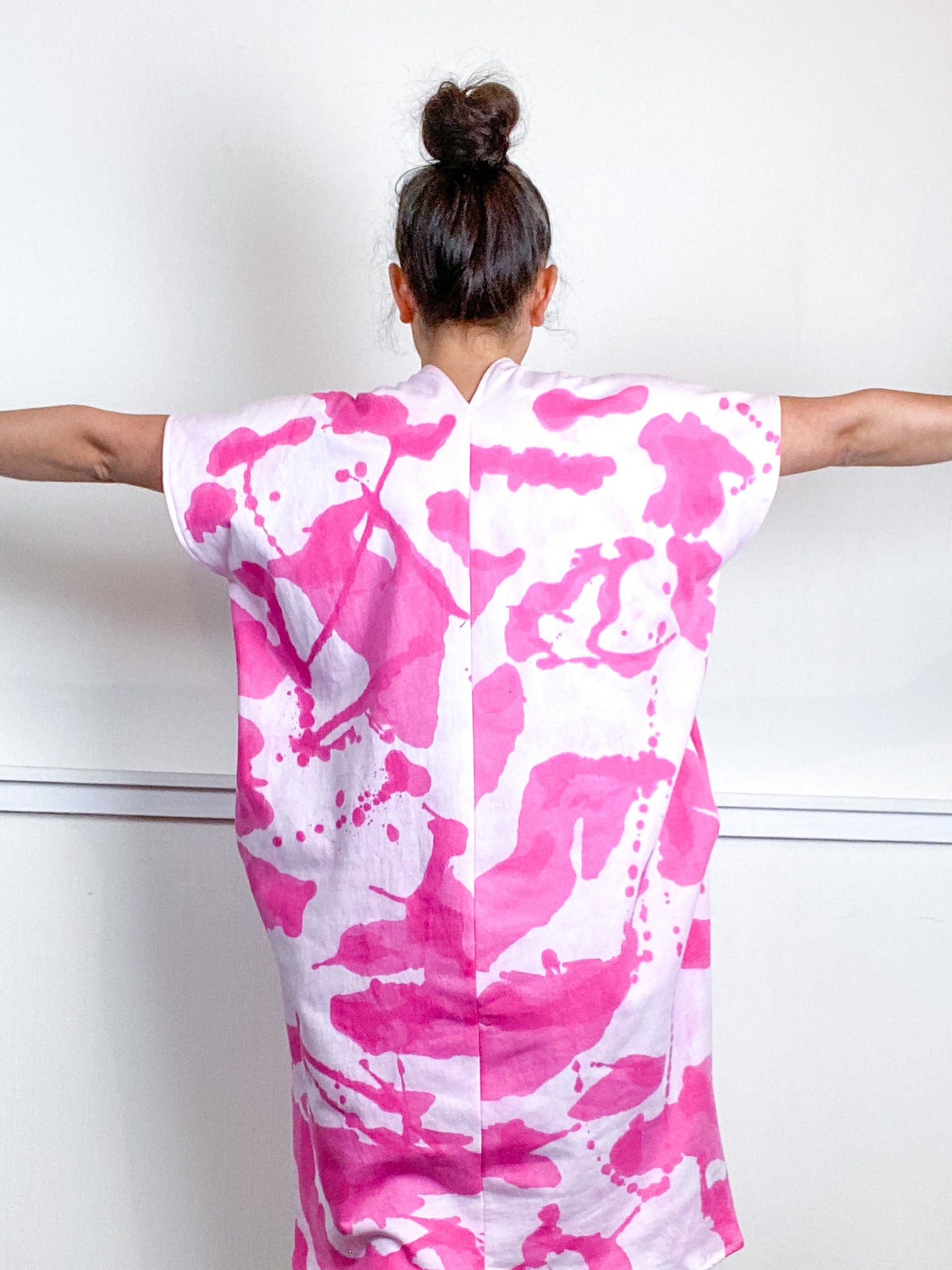 Hand-Dyed Sweatshirt Smock Dress Hot Pink Inkblot