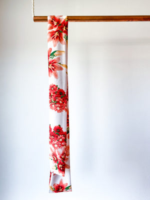 Skinny Scarf Print Floral Ivory Coral Lily