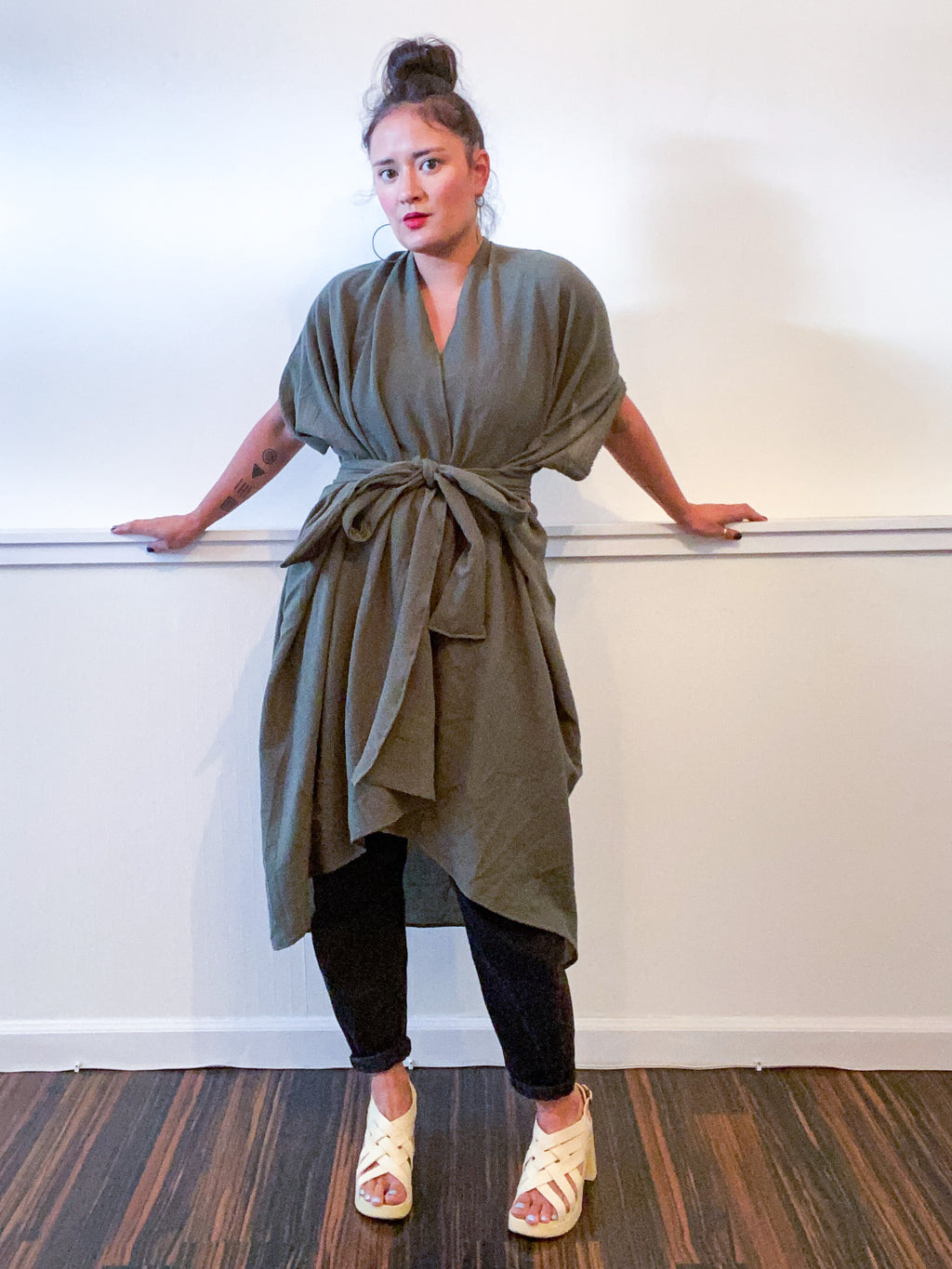 Solid High Low Kimono Army Green Cotton Gauze