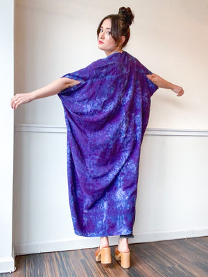Hand-Dyed High Low Kimono Deconstructed Blue