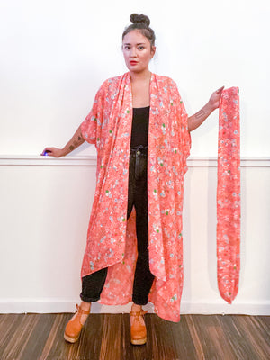 Print High Low Kimono Peach Mini Floral Georgette