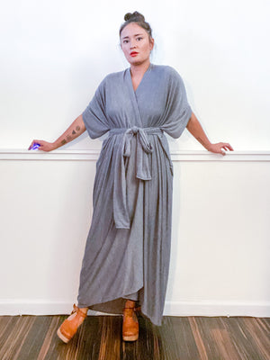 Solid High Low Kimono Heather Grey Knit
