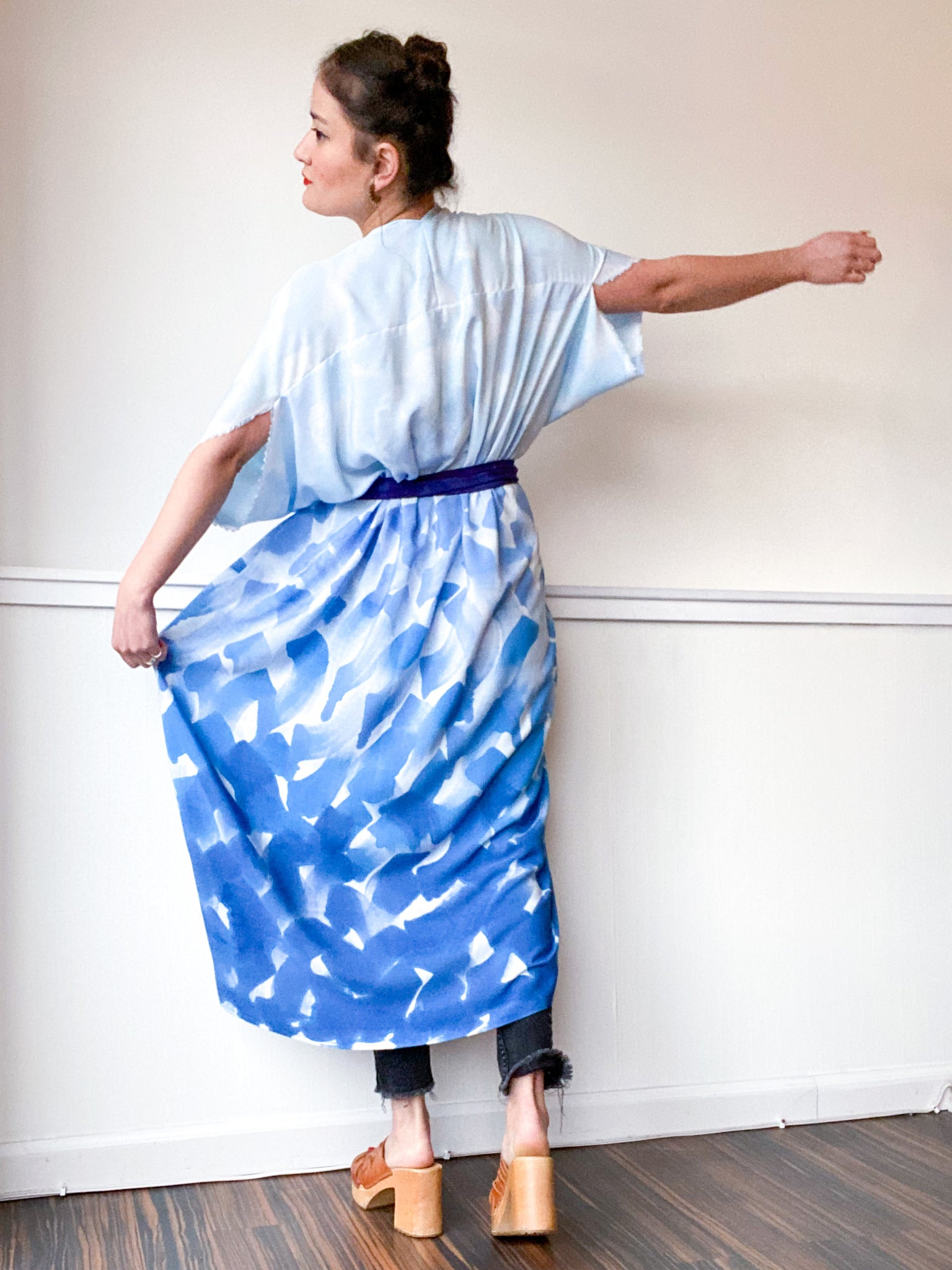 Limited Edition Hand-Dyed High Low Kimono Blue Brush