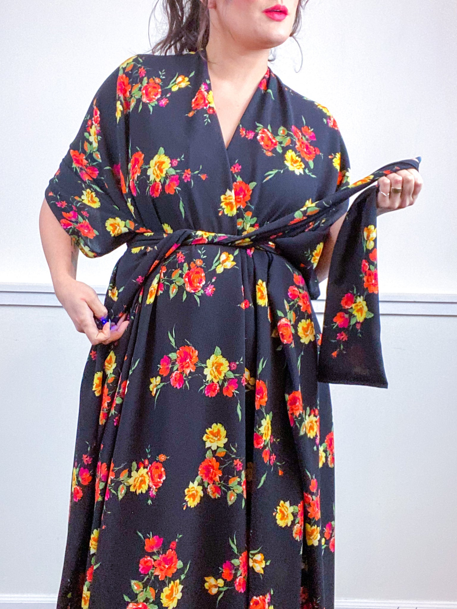 Print High Low Kimono Black Orange Yellow Rose Bubble Crepe