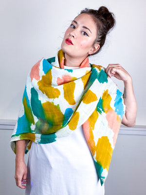 Hand-Dyed Large Square Scarf Marigold Coral Emerald Parakeet