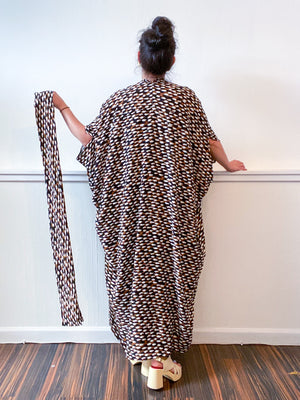 Print High Low Kimono Black Brown Snake Rayon Challis