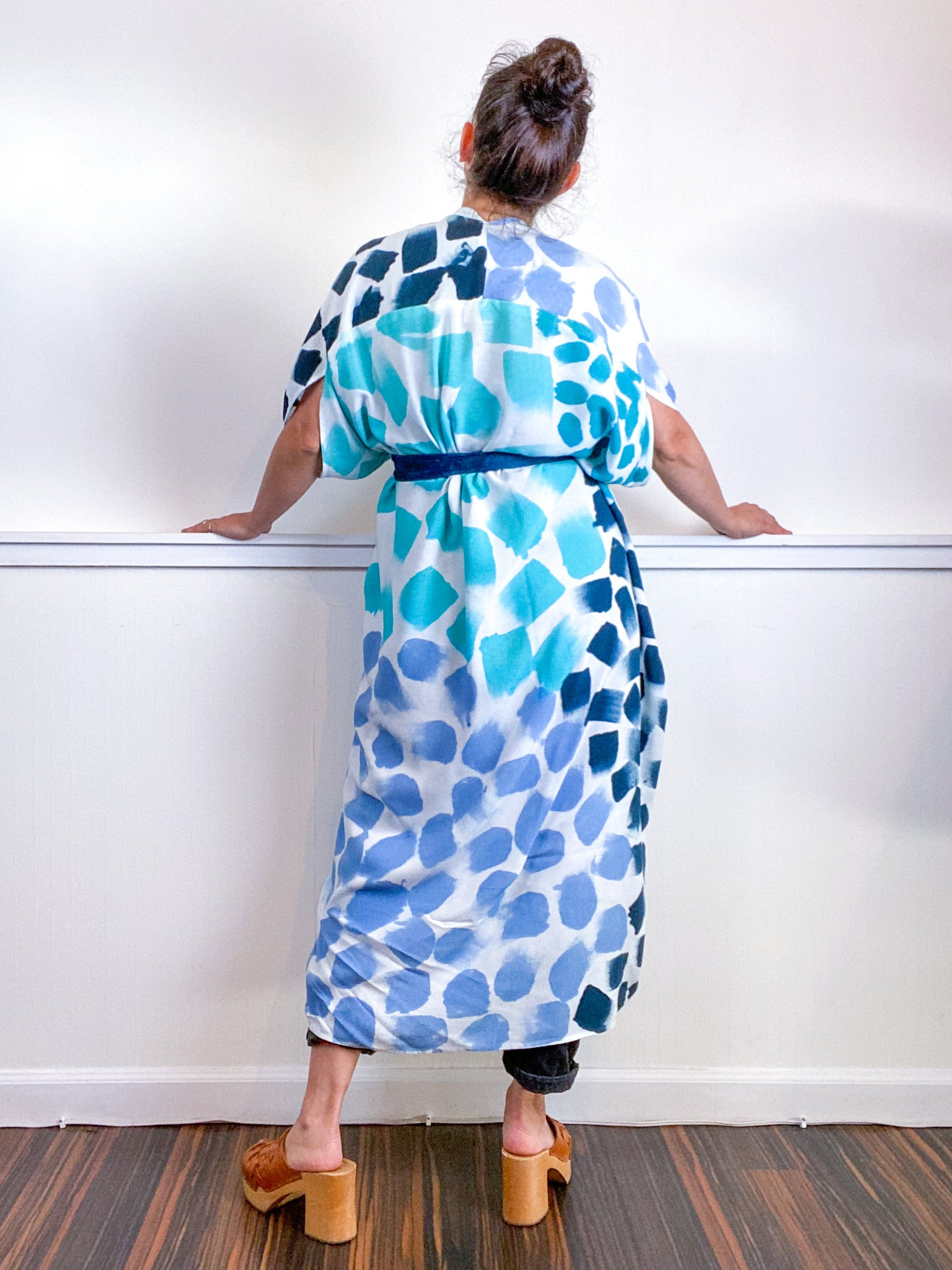 OOAK Hand-Dyed High Low Kimono Teal Parakeet Baby Blue Aqua Dots