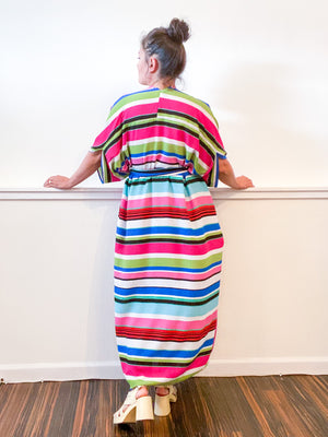 Print High Low Kimono Pink Lime Stripe Bubble Crepe