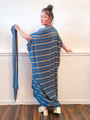 Print High Low Kimono Teal Stripes Knit