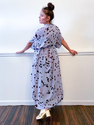 Hand-Dyed High Low Kimono Grey Black Pink Drops