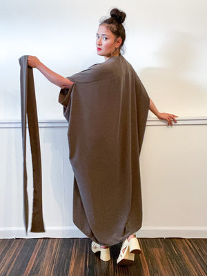 Solid High Low Kimono Neutral Olive Rayon Challis