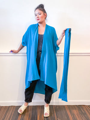 Solid High Low Kimono Turquoise Cotton Gauze