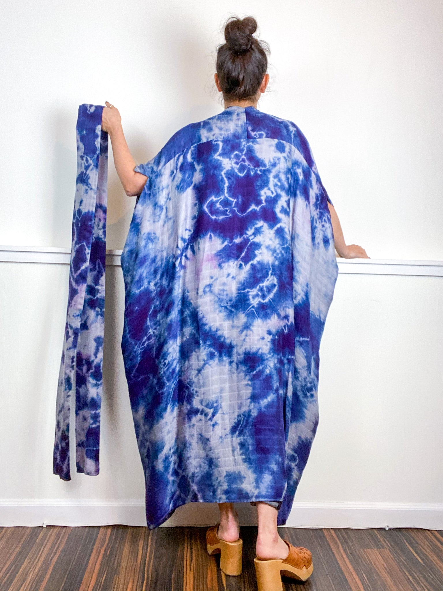 Hand-Dyed High Low Kimono Bamboo Blueberry