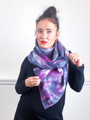 Hand-Dyed Large Square Scarf Grey Maroon Tie