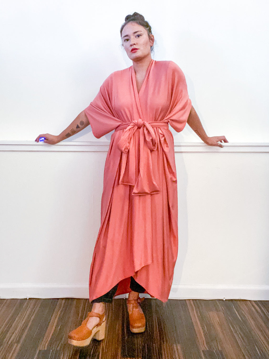 Solid High Low Kimono Terracotta Knit