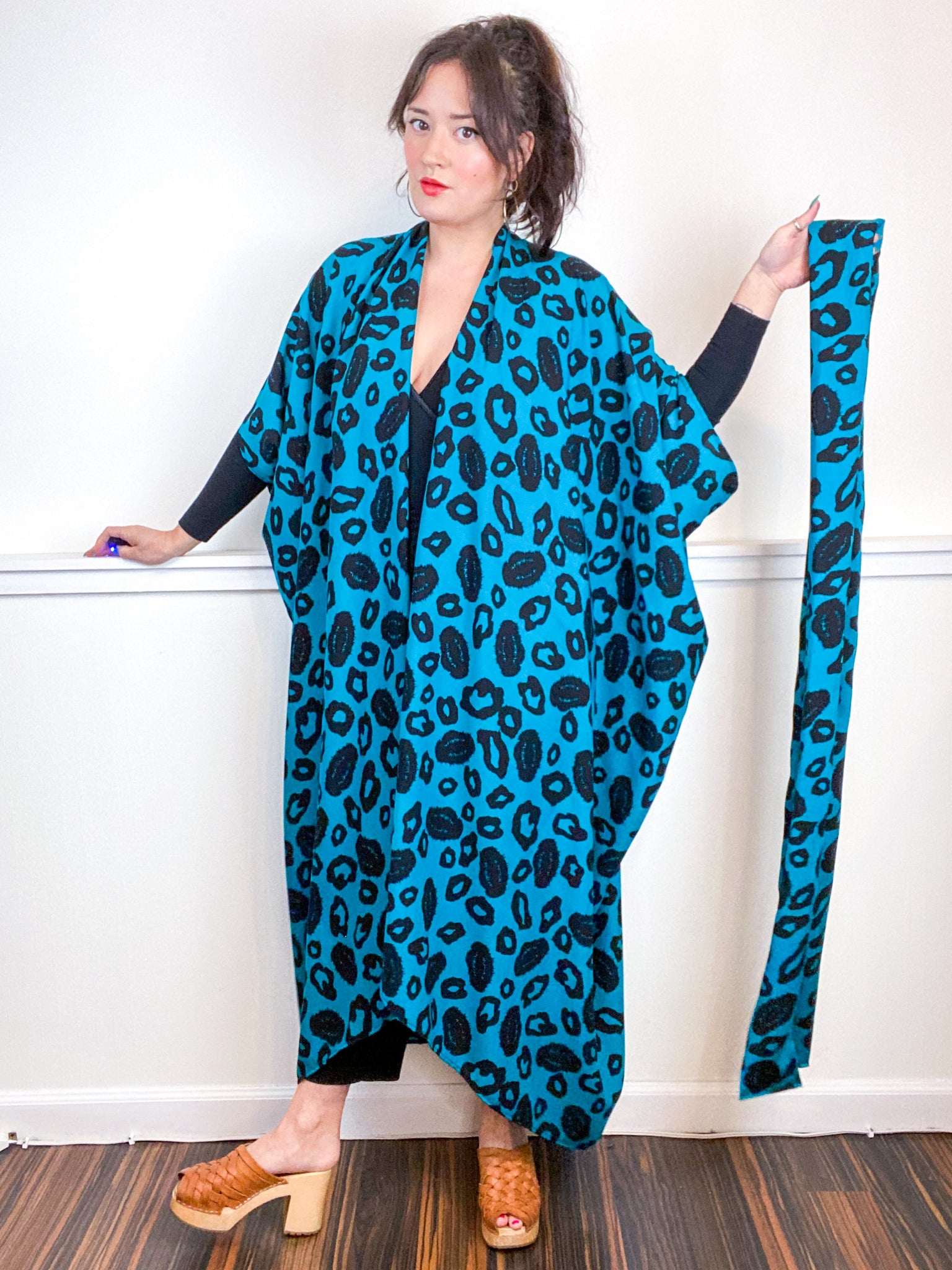 Print High Low Kimono Teal Black Leopard Rayon Challis