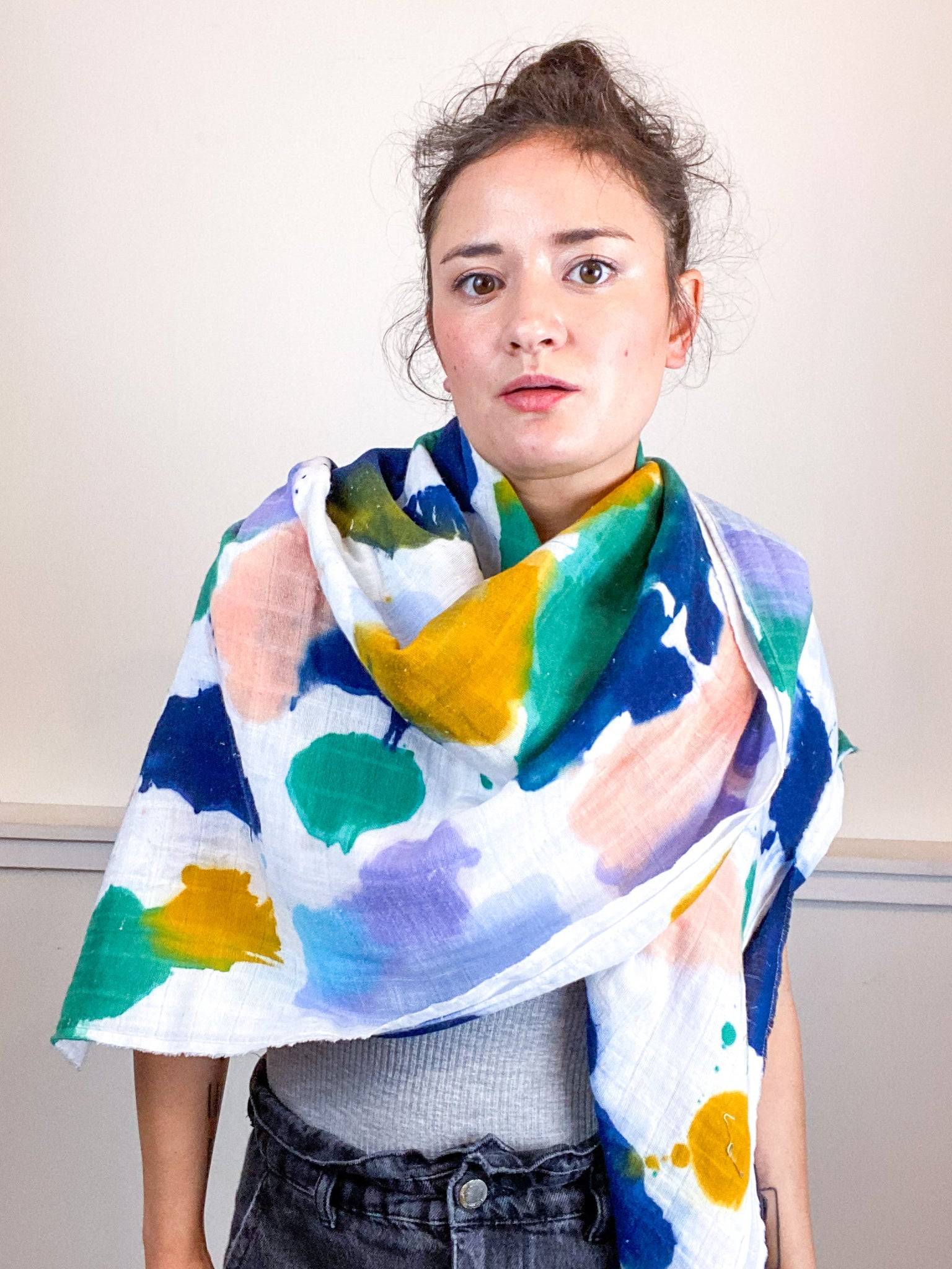 Hand-Dyed Large Square Scarf Seven Multicolor