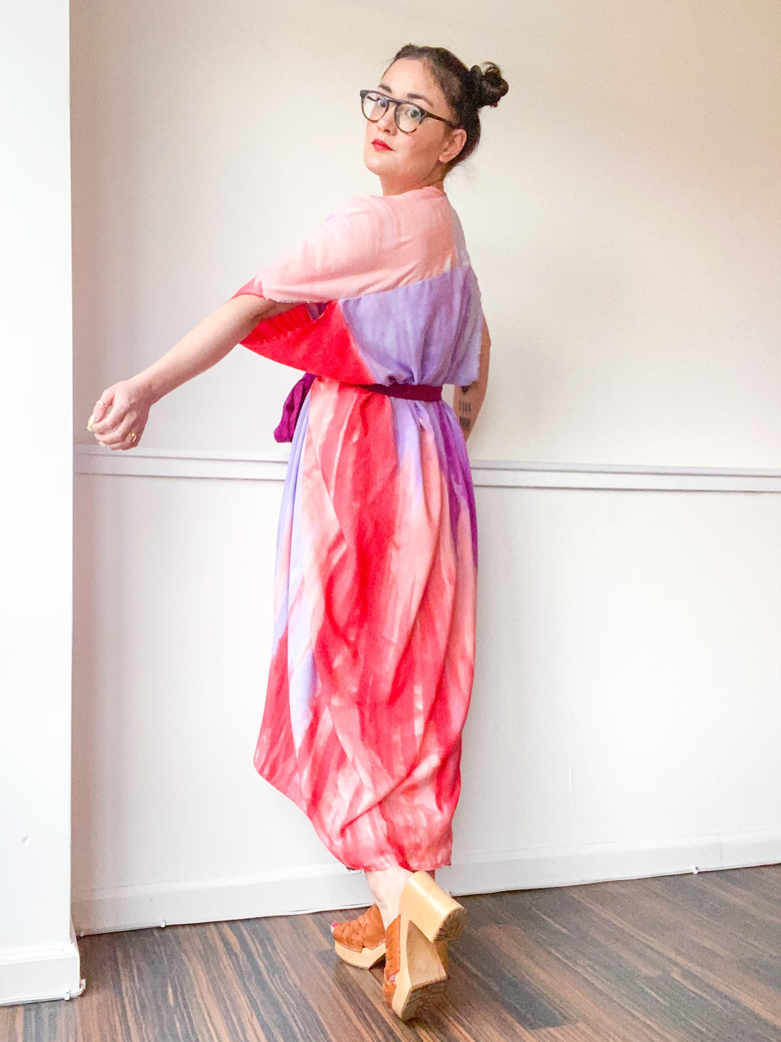Limited Edition Hand-Dyed High Low Kimono Scarlet Amethyst