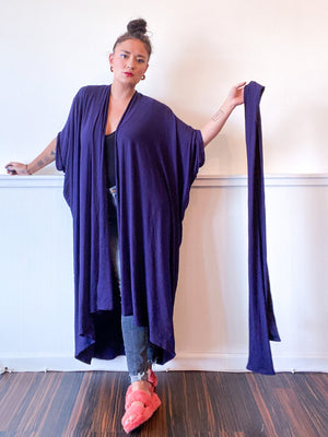 Solid High Low Kimono Solid Navy Knit
