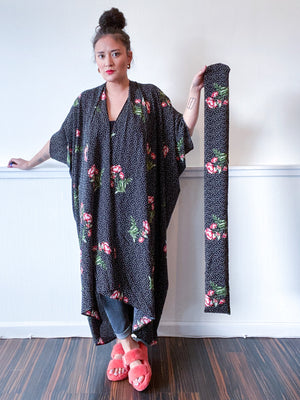 High Low Kimono Black Dots and Floral Bubble Crepe