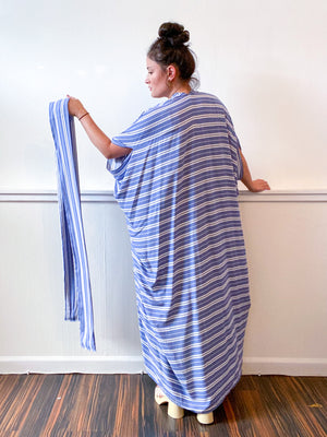 Print High Low Kimono Blue White Stripes Rayon Challis