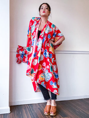 Print High Low Kimono Red Tropical